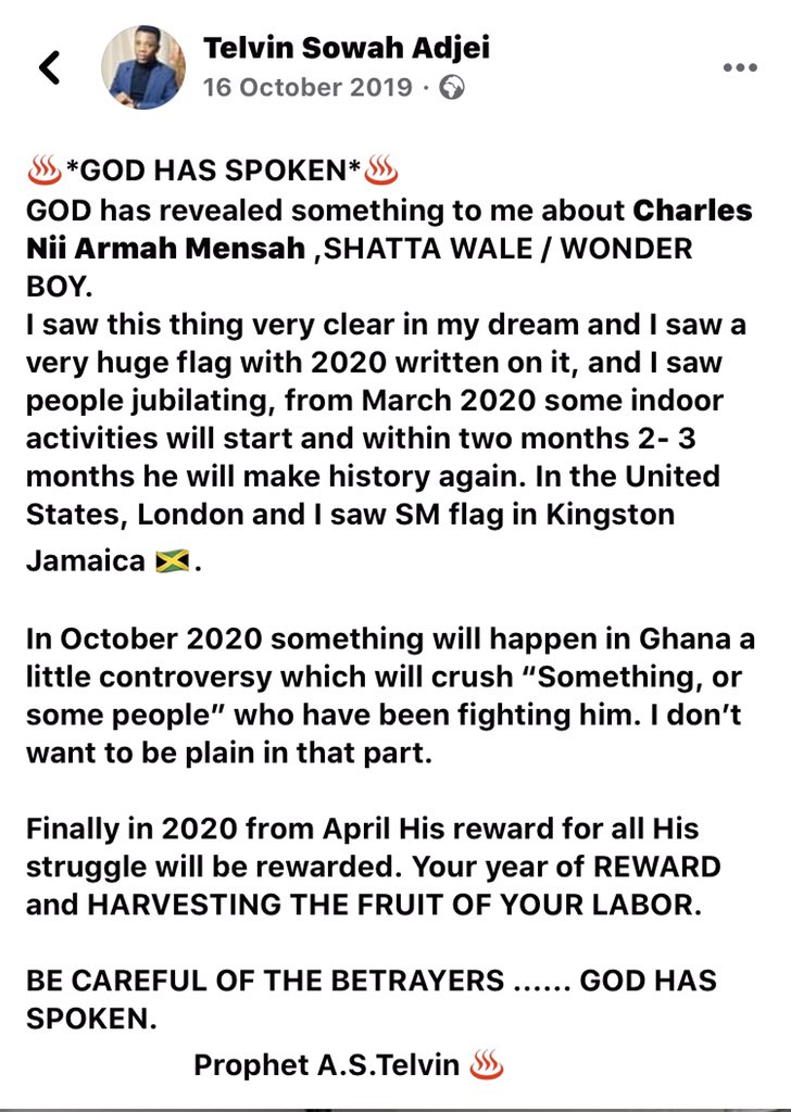 IMG 20200514 182323 Checkout Prophet A.S Telvin's Prophecy About Shatta Wale Which Has Manifested In Real Life