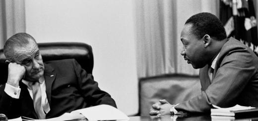 Il presidente Lyndon Johnson e Martin Luther King a colloquio nella Casa bianca il 18 marzo 1966
