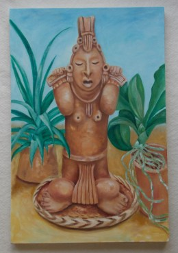 """Mayan Watercarrier. Oil on Canvas, 2015, 20"""" x 30"""""""