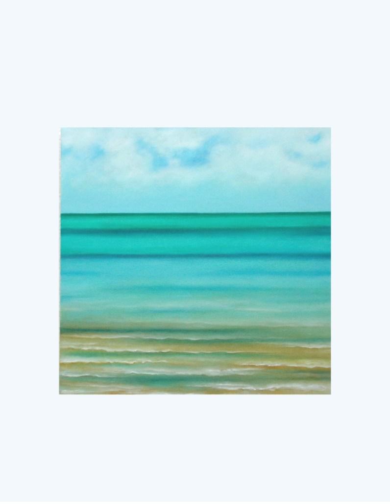 "Cuban Seascape (Centre panel of 3), 2015, Oil on canvas, 20""x 20"""