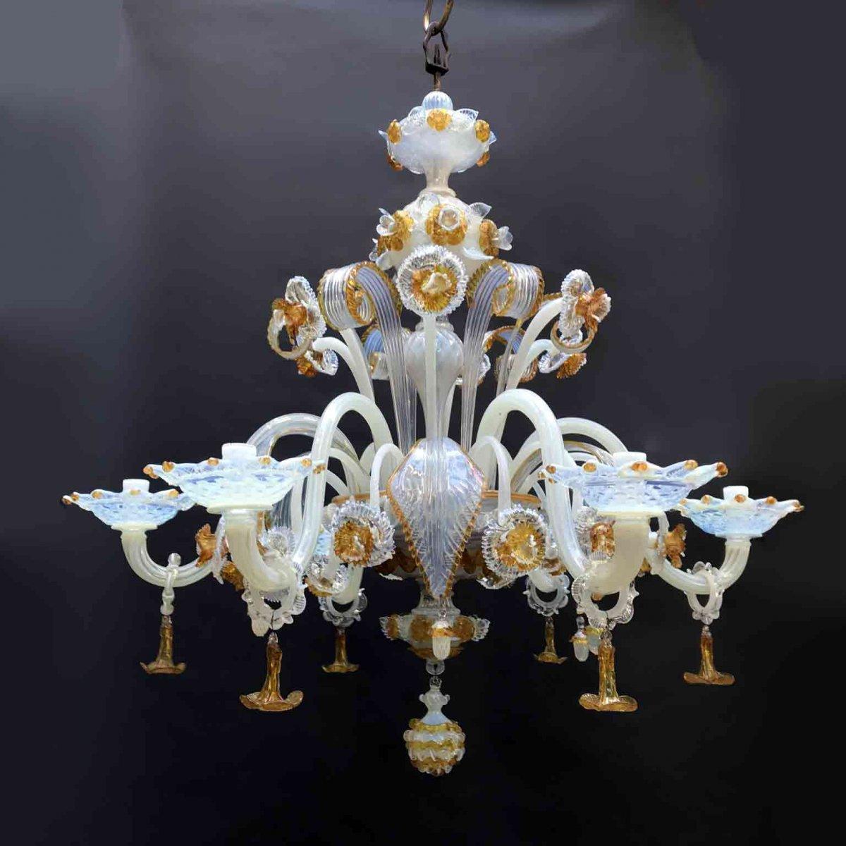 Trova una vasta selezione di lampadario murano antico a prezzi vantaggiosi. Lampadario In Vetro Di Murano Opalescente Vendita Online Ghilli Antichita Milano