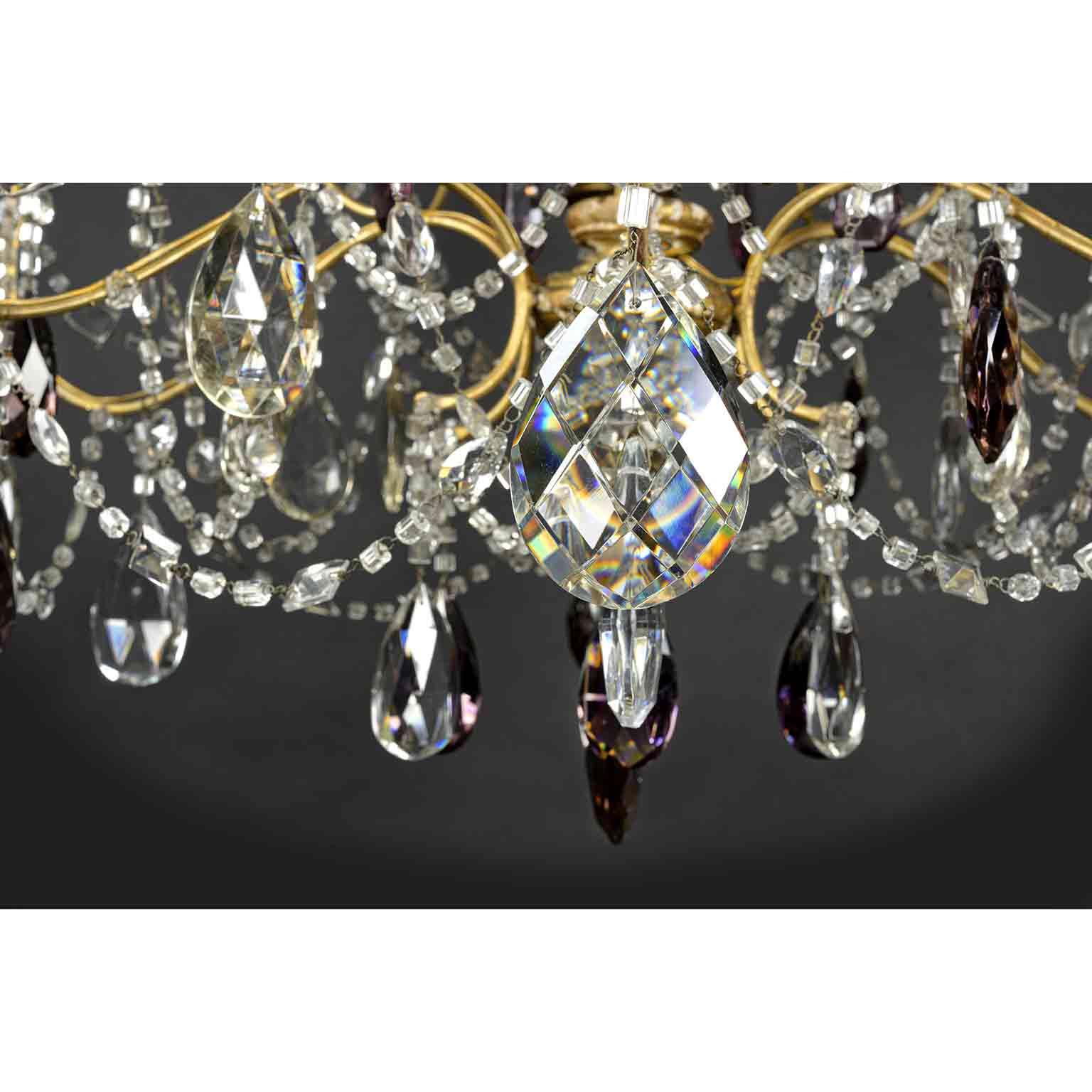 Antico lampadario maria teresa con gocce di cristallo. Grande Lampadario Ferro E Cristallo Ideale Per La Sala Da Pranzo