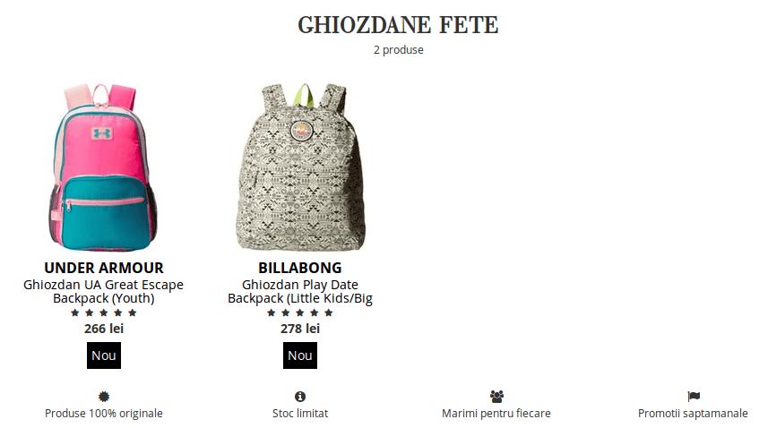 Ghiozdane pentru fete de la Boutique Mall