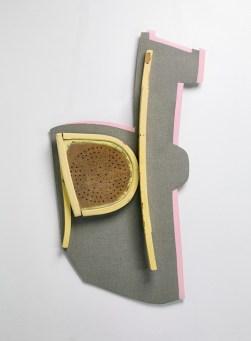 15-Sculpture frontale, 2015, Stratifié contrecollé sur contreplaqué et mobilier, 130x75x8cm