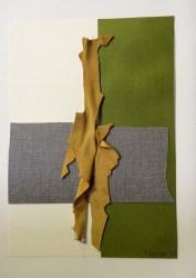 Collage cuir, papier et stratifié, 2016, 30 x 21 cm