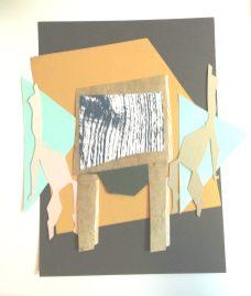 Collage, Table bois, automne 2018