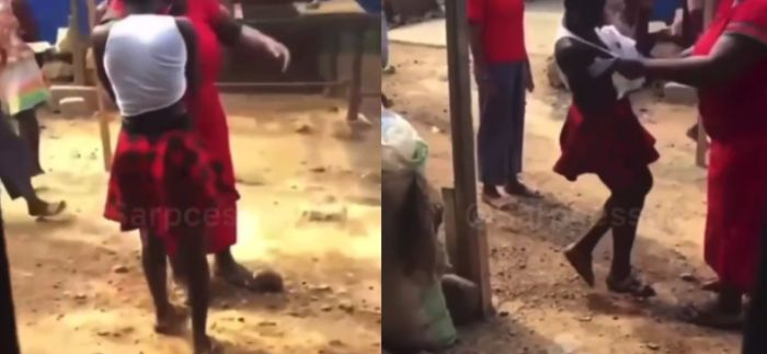 Young Girl Chops Slap As Middle Aged Woman Grabs And Beats Her For Sleeping With Her Husband – Video