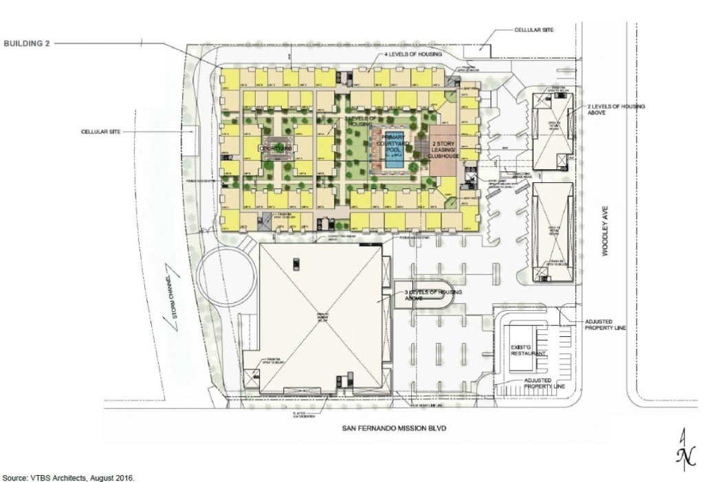 Podium-level floor plan for the Woodley & San Fernando Mission Project (Image: LADCP)