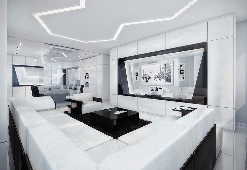 Modern Black and White Living Room with Black Rug ...