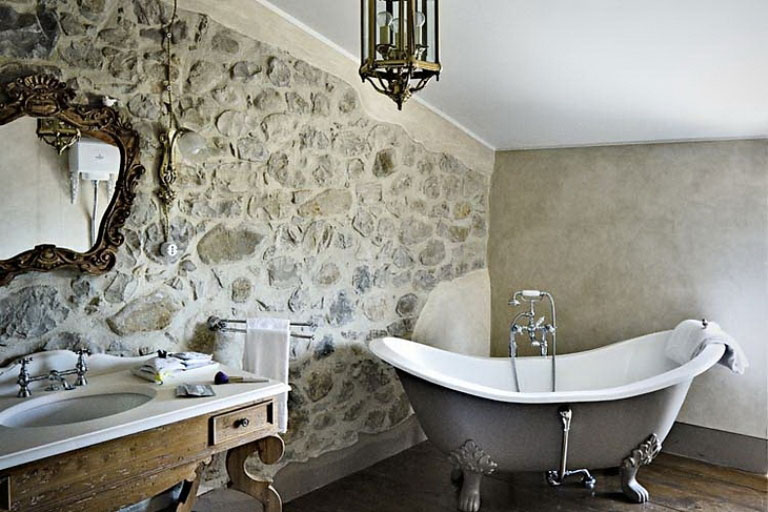 Luxury And Classic Bathroom Style With Elegant Rock Wall Interior Design Ideas