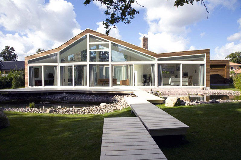 Glass Fronted House with Footpath Design - Interior Design ... on Glass House Design Ideas  id=67456