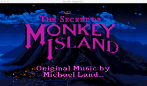Monkey Island running on an emulated Amiga 4000 via FS-UAE (macOS)