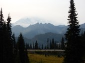 A usually spectacular viewpoint for Mt. Ranier. Smoke from wildfires is making the view a bit hazy. You can just make out the outline of the mountain.