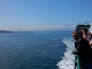 A view southwest during our ferry crossing from Port Townsend, WA to Whidbey Island. The Olympic Mountains are just visible in the distance.