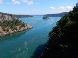 A view east from the bridge over Deception Pass on Whidbey Island.