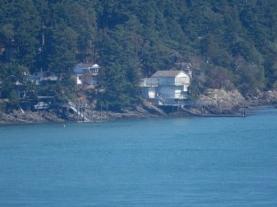 A closeup of homes on the north shore west from the bridge over Deception Pass on Whidbey Island.