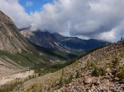 A view down the valley below Mt Edith Cavell in Jasper Park.