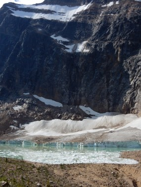 You can trace the path of a recent rockslide on the face of Mt Edith Cavell in Jasper Park.