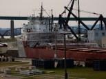The Cason J Callaway upbound through the Soo Locks. The ship rises as the lock fills.