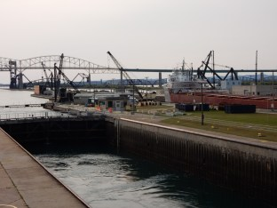 The Cason J Callaway upbound through the Soo Locks. The ship rises as the lock fills.