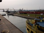 The lock is filled and the gate opens for the Soo Locks tour boat.