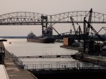 Safely clear of the Soo Locks, the Cason J Callaway increases turns to continue up the Saint Mary's River.