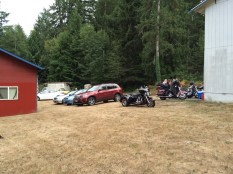 The car/motorcycle parking lot at the Par-tay on the island.