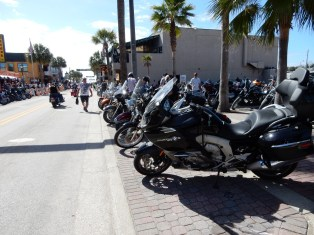 The Nightowl parked on Main Street in Daytona. It's only Tuesday of Bike Week, so it's pretty quiet.