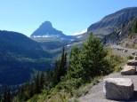 Looking up towards the visitor center from the eastern slope of Logan Pass.