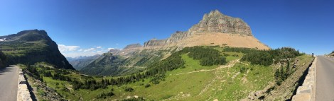 A panorama of the spectacular valley just west of the visitor center in Glacier NP.