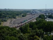 A closer look at the rail yard in downtown Havre, MT.