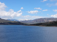 A view of the snow-capped peaks on the north side of the Blue Mesa Resevoir.