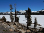 Caples Lake, just west of Carson Pass, is still frozen in mid-May.