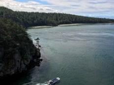 A tour boat navigates Deception Pass.A tour boat navigates Deception Pass.