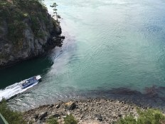 A tour boat navigates through Deception Pass.