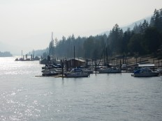 A few boats moored in a marina in Balfour, BC.