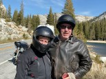 Tud and Ange along CA120 west of Tioga Pass.