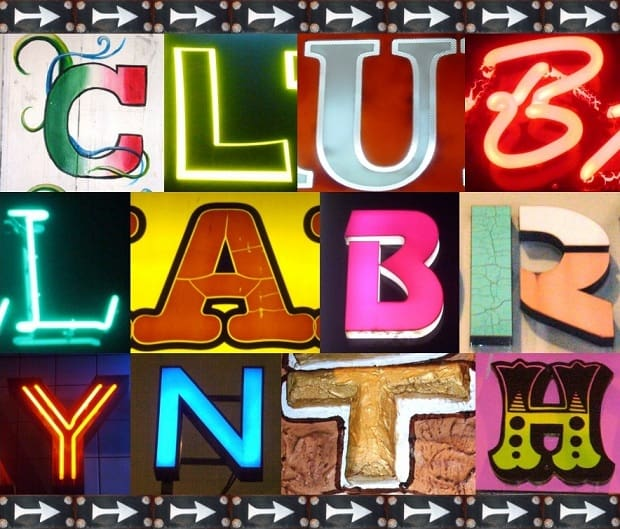 Different letters found in Dalston assembled to make the phrase 'Club Labrynth'
