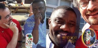 Photos of John Dumelo and Jon Benjamin drinking V8 Juice in UK pops up