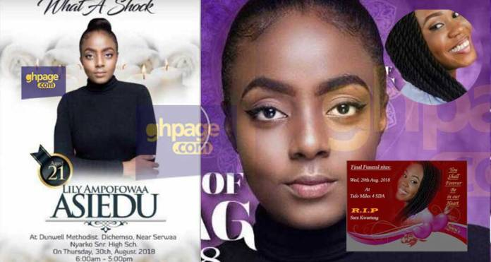 See the burial poster of the two university beauty queen contestants who drown during a photo shoot in Cape Coast