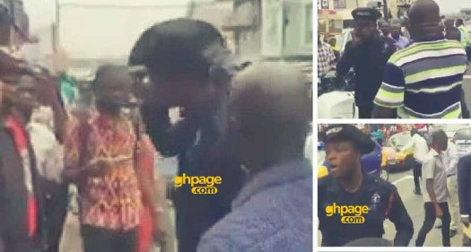 Ghanaian Citizens attempted to arrest a police officer who slapped a 'trotro'driver