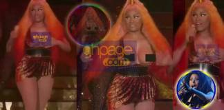 Nicki Minaj's boobs slip out of her dress while performing - handled it like a pro