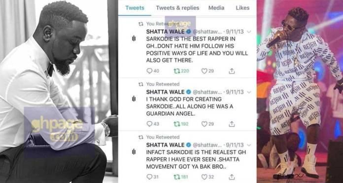 Sarkodie is my Guardian Angel-Shatta Wale tweeted 5yrs ago