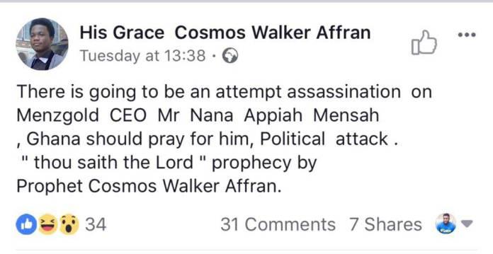 Nana Appiah Mensah to be assassinated