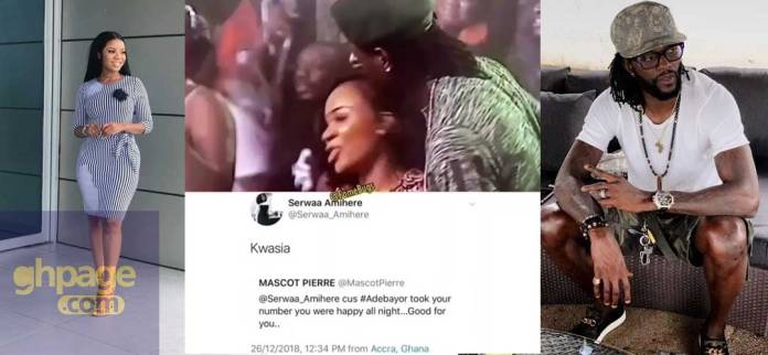 Serwaa Amihere replies fan who teased her for exchanging contacts with Adebayor