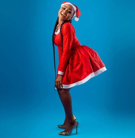 Actress posing in a christmas costume