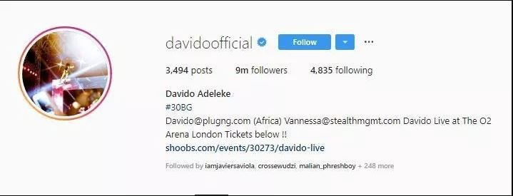 Davido sets another record as he hits 9million Instagram followers