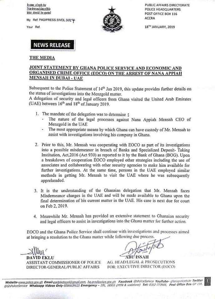 EOCO and the Ghana Police's joint press statement