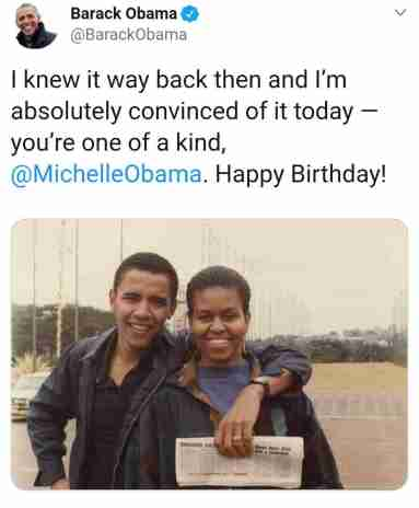 Barack Obama celebrates wife birthday