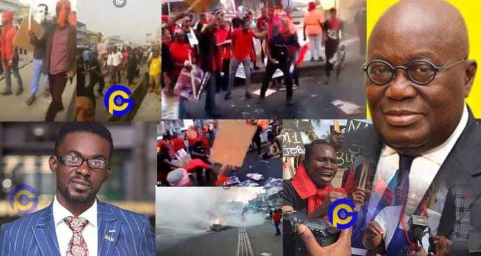 Menzgold demonstrators in Kumasi curse NAM1 and Akufo-Addo